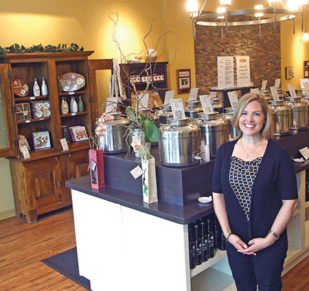 The Olive Grove proprietor Natalie Jaeger in her Mendota Heights shop.